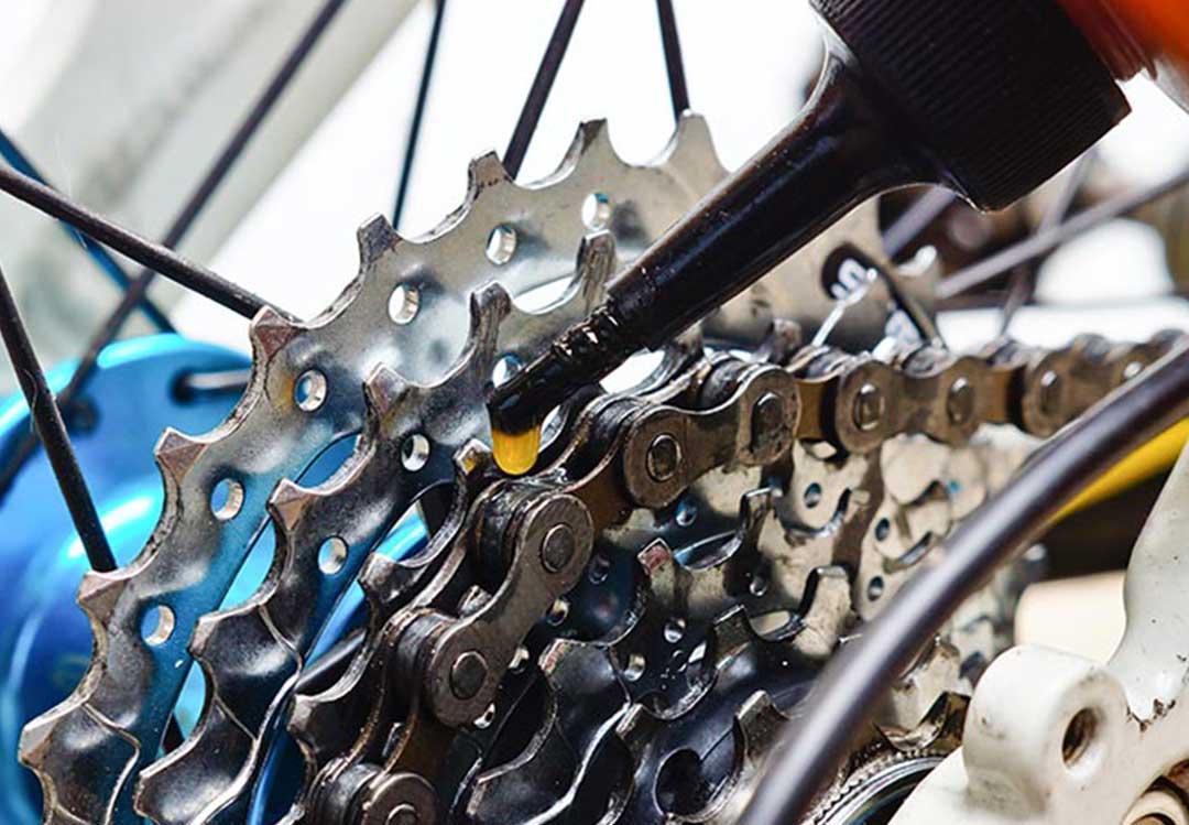 Oiling rear bike cogs