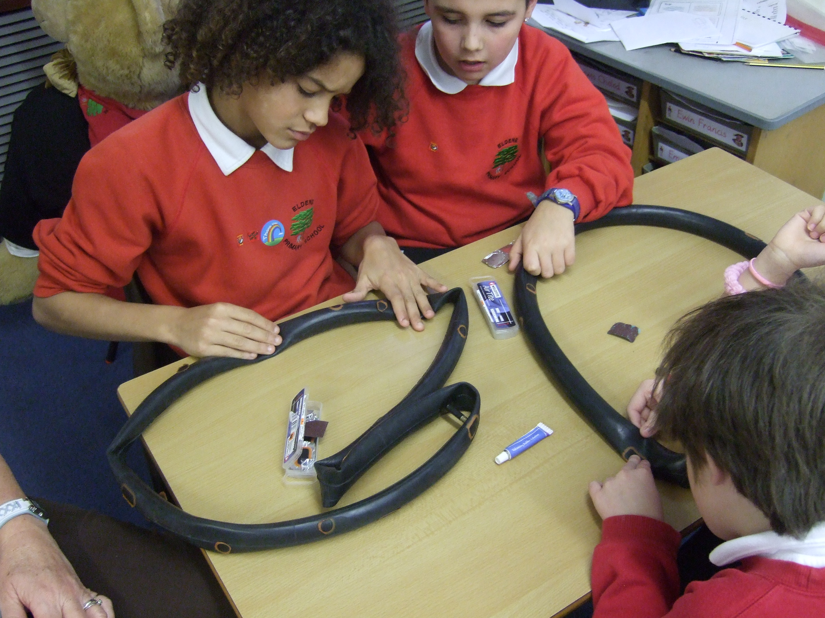 Pupils practice puncture repair