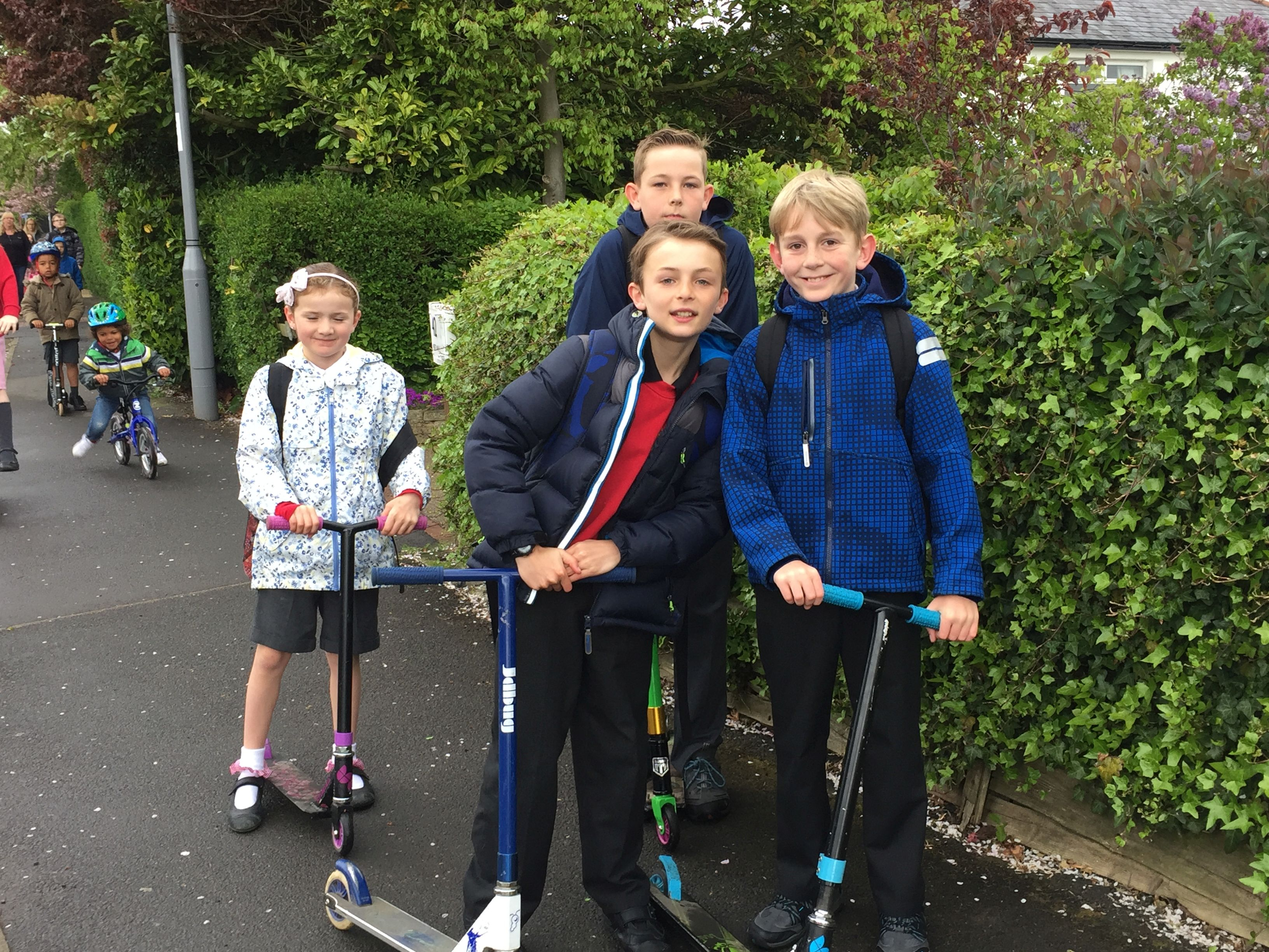 Pupils enjoying scooting to school