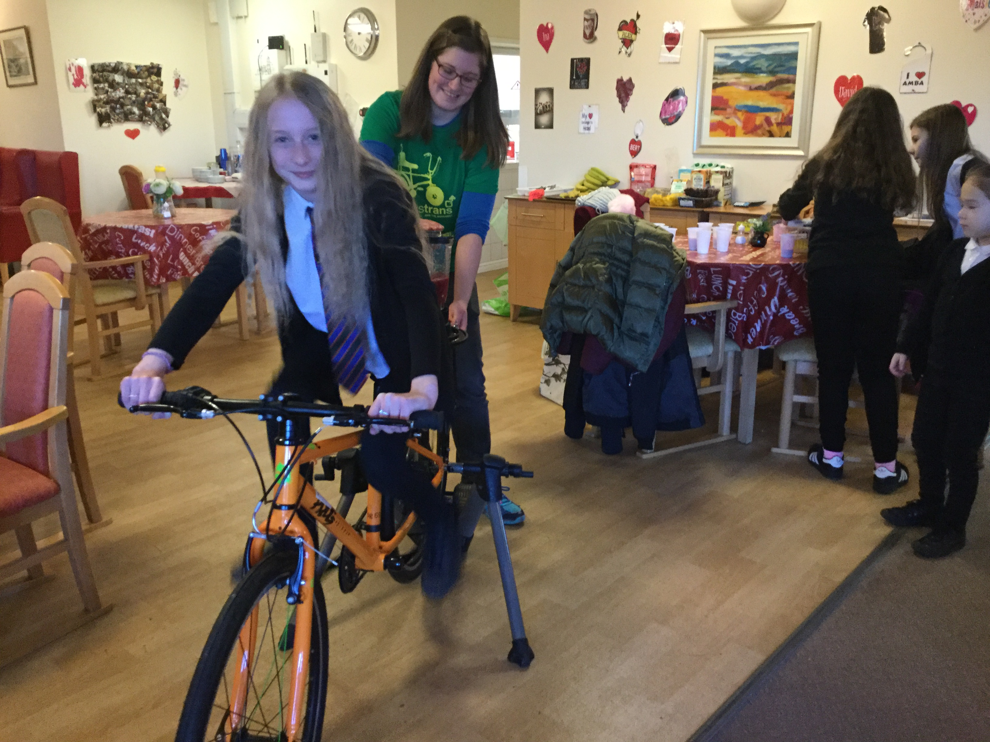 Smoothie bike visit a local Care Home in Perth