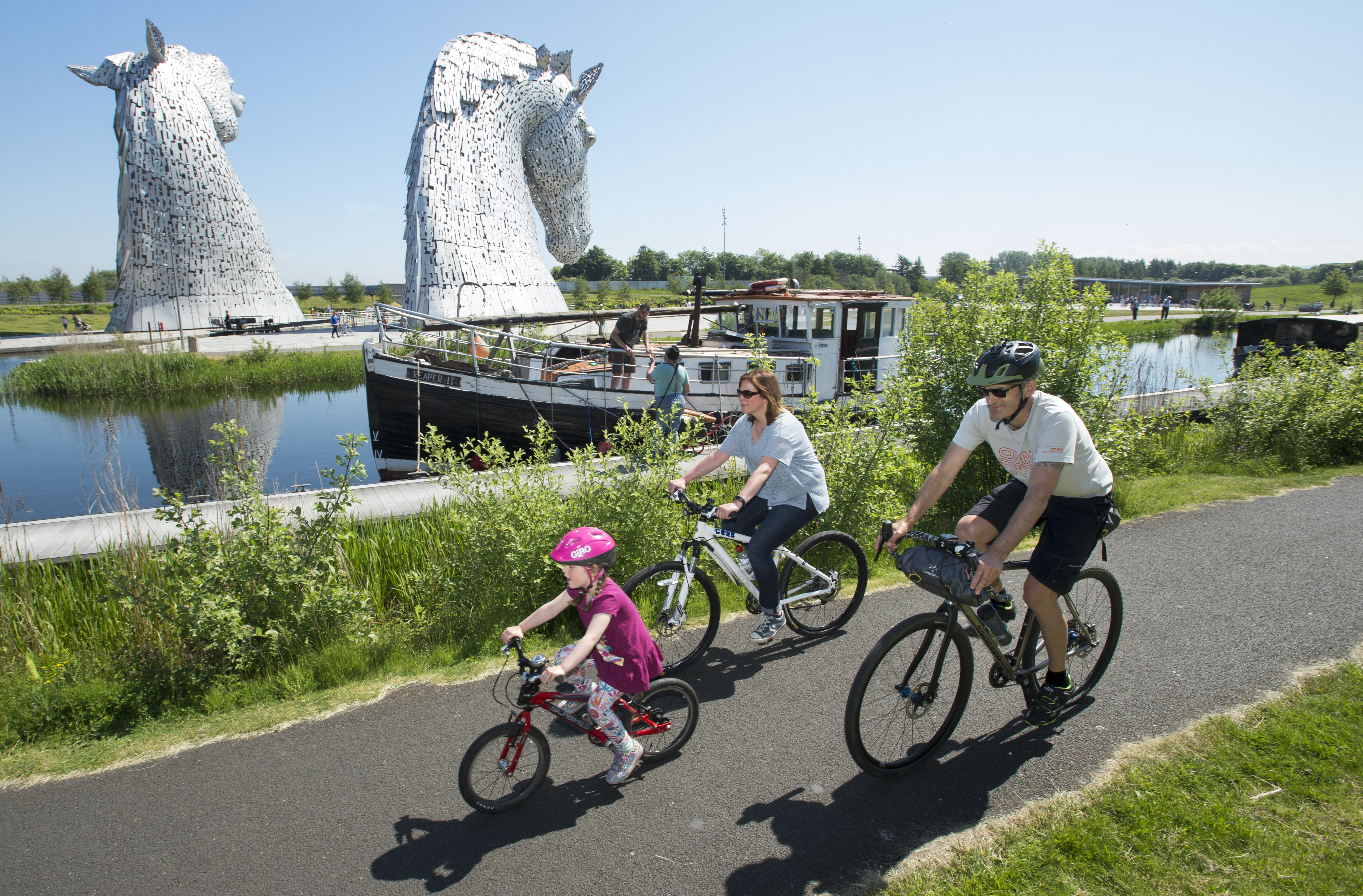 Families riding near the Falkirk Wheel