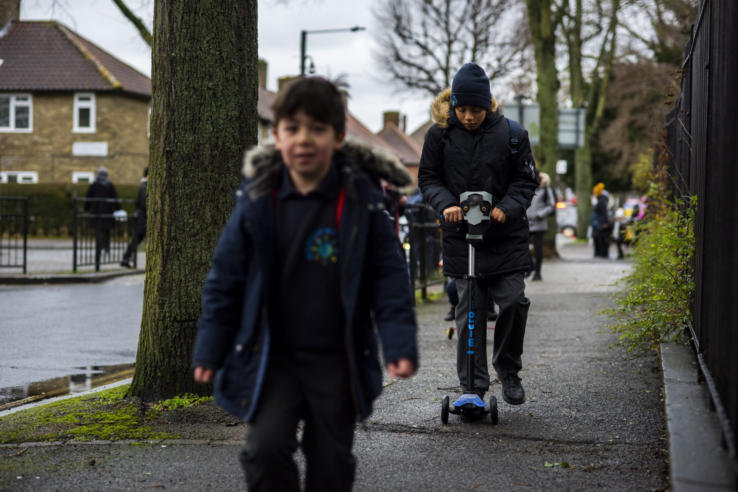 Children walking and scooting to school