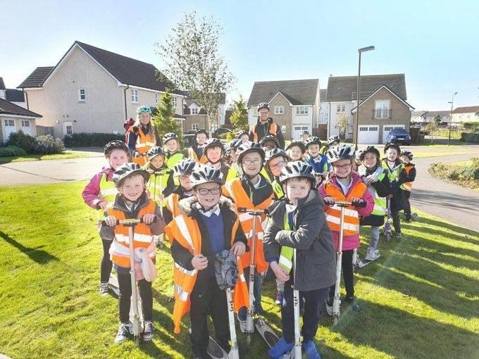 West Lothian pupils taking part in a Houses and Homes Scoot