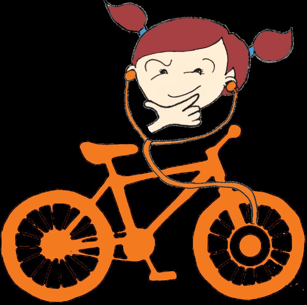 thinking Dr Bike girl graphic