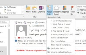 Image of Outlook window showing retention policy option