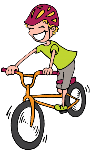 Cartoon of a boy on a bike